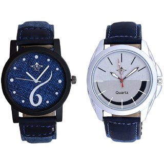 Blue Lather Design And Latest Silver Black Dial SCK Men's Combo Wrist Watch