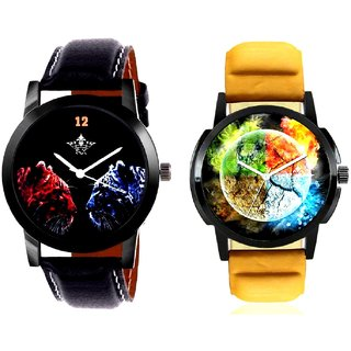 Stylish 3D Designer And 2 Jaguar Analogue Men's Combo Wrist Watch By SCK