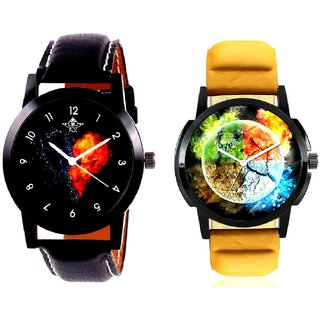 Stylish 3D Designer And Love Print Dial Men's Combo Casual Watch By Ram Enterprise