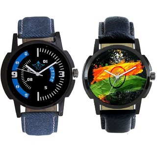 Indian Flage And Awesome Blue Sport Dial Analogue Men's Combo Wrist Watch By Taj Avenue