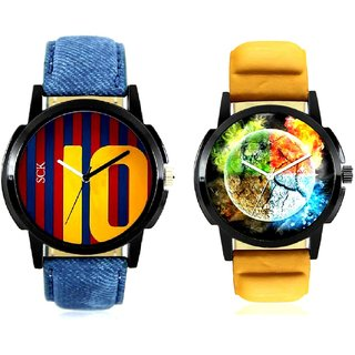 Stylish 3D Designer And Yelow 10 Analogue Men's Combo Watch By Taj Avenue