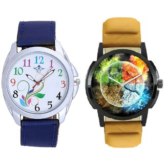 Stylish 3D Designer And Colouring Flowers Men's Combo Casual Watch By Taj Avenue