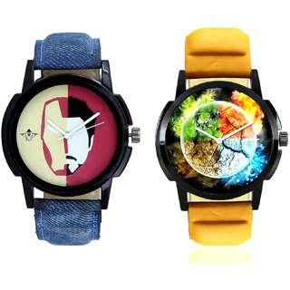 Stylish 3D Designer And Rocky Men's Analogue Men's Combo Wrist Watch By Taj Avenue