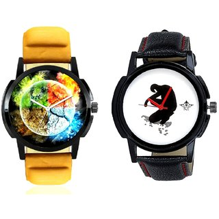 Stylish 3D Designer And Fancy White Dial Men's Combo Casual Watch By Taj Avenue