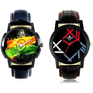 Indian Flage And Fancy Roman Digit Men's Combo Analog Wrist Watch By Taj Avenue