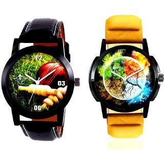 3D Round Art With Cricket Studio Design SCK Combo Gallery Wrist Watch