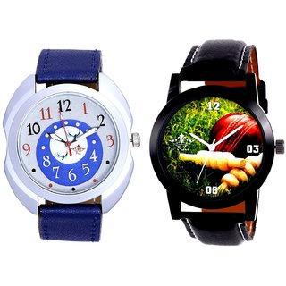 Best Cricket Design And Exclusive Blue Round Dial SCK Combo Analogue Watch