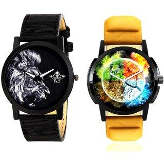Stylish 3D Designer And White Lion Men's Combo Quartz Watch BY Harmi Exim