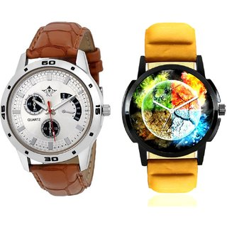 Stylish 3D Designer And Designer Brown Leather Casual Analog Combo Men's Watch By Taj Avenue