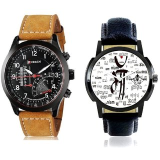 Maa All Language And Curren Meter Leather Hand Strap Quartz  Combo Analogue Wrist Watch By Gujrat Hub