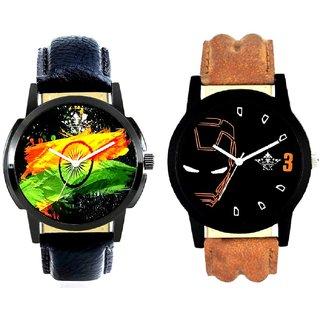 Indian Flage And Iron Man Quartz  Combo Analogue Wrist Watch By Taj Avenue