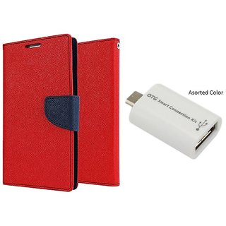 New Mercury Goospery Wallet Flip Cover Huawei Honor 5X  ( RED ) With Micro OTG Smart
