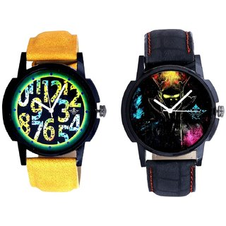 Black Multi Colour And Black Dial Yellow-Green Digits Analog SCK Combo Watch -For Men