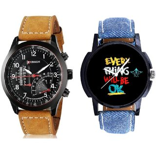 Every Thinke Will Be Ok And Curren Meter Leather Hand Strap Quartz  Combo Analogue Wrist Watch By Gujrat Hub