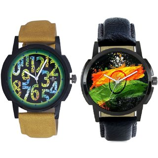 Indian Flag And Black Dial Yellow-Green Digits Analog SCK Combo Watch -For Men