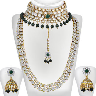 3b6fa653c3b12 Buy Spargz Gold Plated Green White Kundan Pearl Haram Choker ...