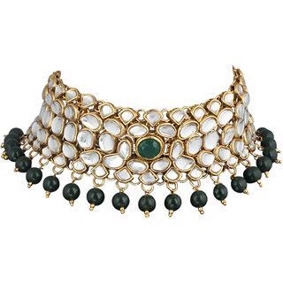 09f0249c8ce79 Spargz Gold Plated Green White Kundan Pearl Haram Choker Necklace Set  Bridal Jewellery Set For Women AINS254