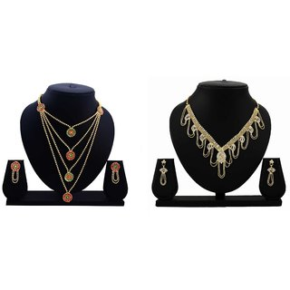 Dealseven Fashion Presents Golden Color Alloy Combo Neckless Set.