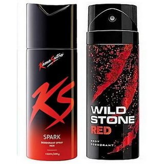 Wildstone KamasutraDeodorant Spray Combo Set (pack of 2 Pcs)-150 ml each (Mix varriants)