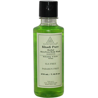 Khadi Pure Herbal Aloevera Body Wash SLS-Paraben Free - 210ml