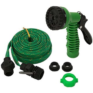 Multipurpose Use Car Wash Pipe Flat Hose Water Gun Spray 10 mtr with 4 mode