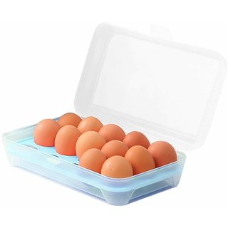 House of Quirk Plastic Refrigerator Egg Storage Box for 15 Eggs, 24x14x7.5cm