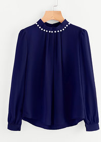 Code Yellow Women's Navy Blue Casual Full Sleeves Pearl Top