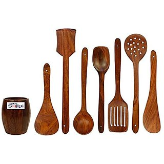 Shilpi Wooden Spoon Set of 7/2 Frying, 1 Serving, 1 Spatula, 1 Chapati Spoon, 1 Desert, 1 Rice/Wooden Handmade Ladle