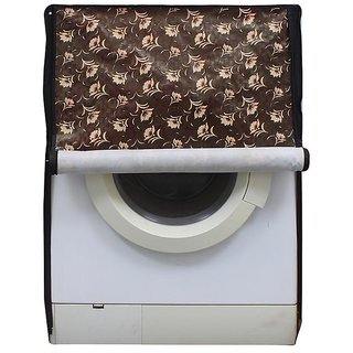 Brown And Beige Floral Waterproof & Dustproof Washing Machine Cover For Front Load Samsung Wd80J6410As, 8 Kg Washing Machine