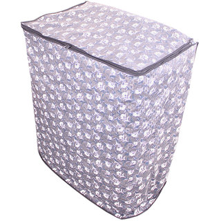 Glassiano Grey floral washing machine cover for semi automatic machine for Whirlpool SUPERB ATOM 62S (6.2 KG)  Washing Machine