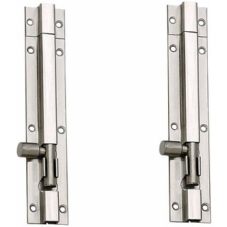 MH 4-inch Stainless Steel Plain Tower Bolt (Silver, Pack of 2)