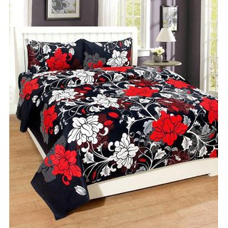 SmillingDecor Beautiful 3D Printed Glace Cotton Double Bedsheet With 2 Pillow Covers