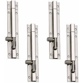 MH 4-inch Stainless Steel Plain Tower Bolt (Silver, Pack of 4)