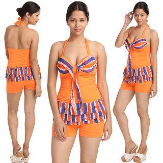 Very Pleasing Swim Sexy Multi Orange Blue Striped Haltered Neck Two Piece BoyLeg Bottom Tankini-Beach Wear