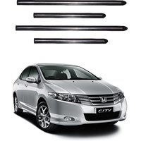 Trigcars Honda City Car Side Beading Black With Chrome Line + Free Gift Bluetooth 250/