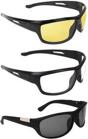 Code Yellow Transparent UV Protected Black Full Rim Wrap-around Night Vision