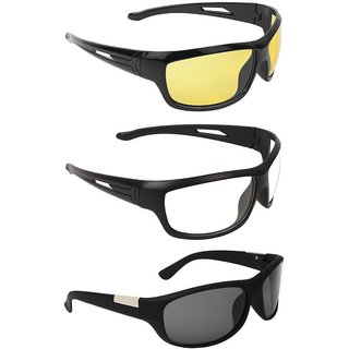 Code Yellow Transparent UV Protected Black Full Rim Wrap Around Night Vision Unisex Driving Sunglasses Pack Of 3