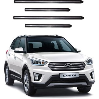 Trigcars Hyundai Creta Car Side Beading Black With Chrome Line + Free Gift Bluetooth 250/