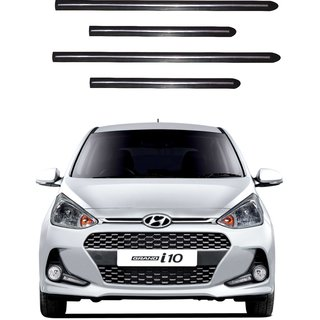 Trigcars Hyundai i10 Grand New Car Side Beading Black With Chrome Line + Free Gift Bluetooth 250/