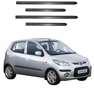 Trigcars Hyundai I10 Old Car Side Beading Black With Chrome Line + Free Gift Bluetooth 250/