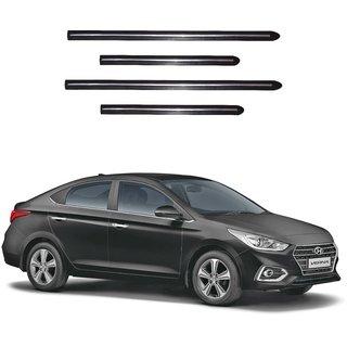Trigcars Hyundai Verna 2018 Car Side Beading Black With Chrome Line + Free Gift Bluetooth 250/