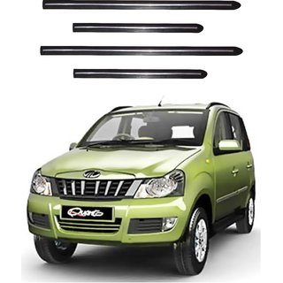 Trigcars Mahindra Quanto Car Side Beading Black With Chrome Line + Free Gift Bluetooth 250/