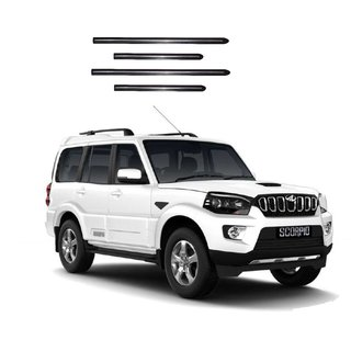 Trigcars Mahindra Scorpio New Car Side Beading Black With Chrome Line + Free Gift Bluetooth 250/