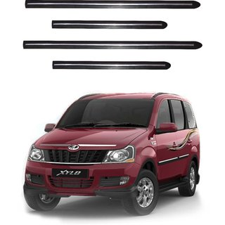 Trigcars Mahindra Xylo Car Side Beading Black With Chrome Line + Free Gift Bluetooth 250/