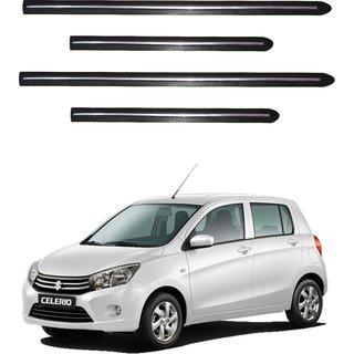 Trigcars Maruti Suzuki Celerio Car Side Beading Black With Chrome Line + Free Gift Bluetooth 250/