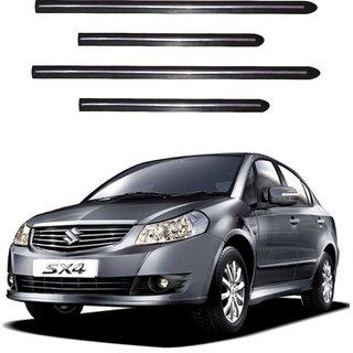 Trigcars Maruti Suzuki SX4 Car Side Beading Black With Chrome Line + Free Gift Bluetooth 250/