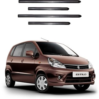 Trigcars Maruti Suzuki Zen Estilo Car Side Beading Black With Chrome Line + Free Gift Bluetooth 250/