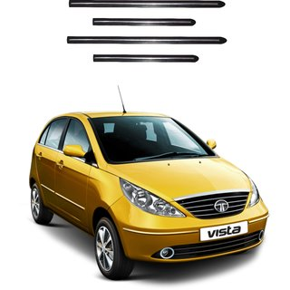 Trigcars Tata Indica Vista Car Side Beading Black With Chrome Line + Free Gift Bluetooth 250/
