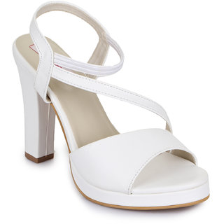 Picktoes White Block Heels