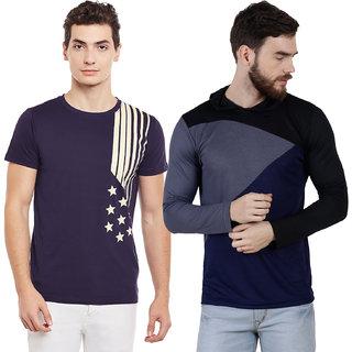Panchkoti Men'S Round Neck Multicolor Pc Cotton Casual Tshirt